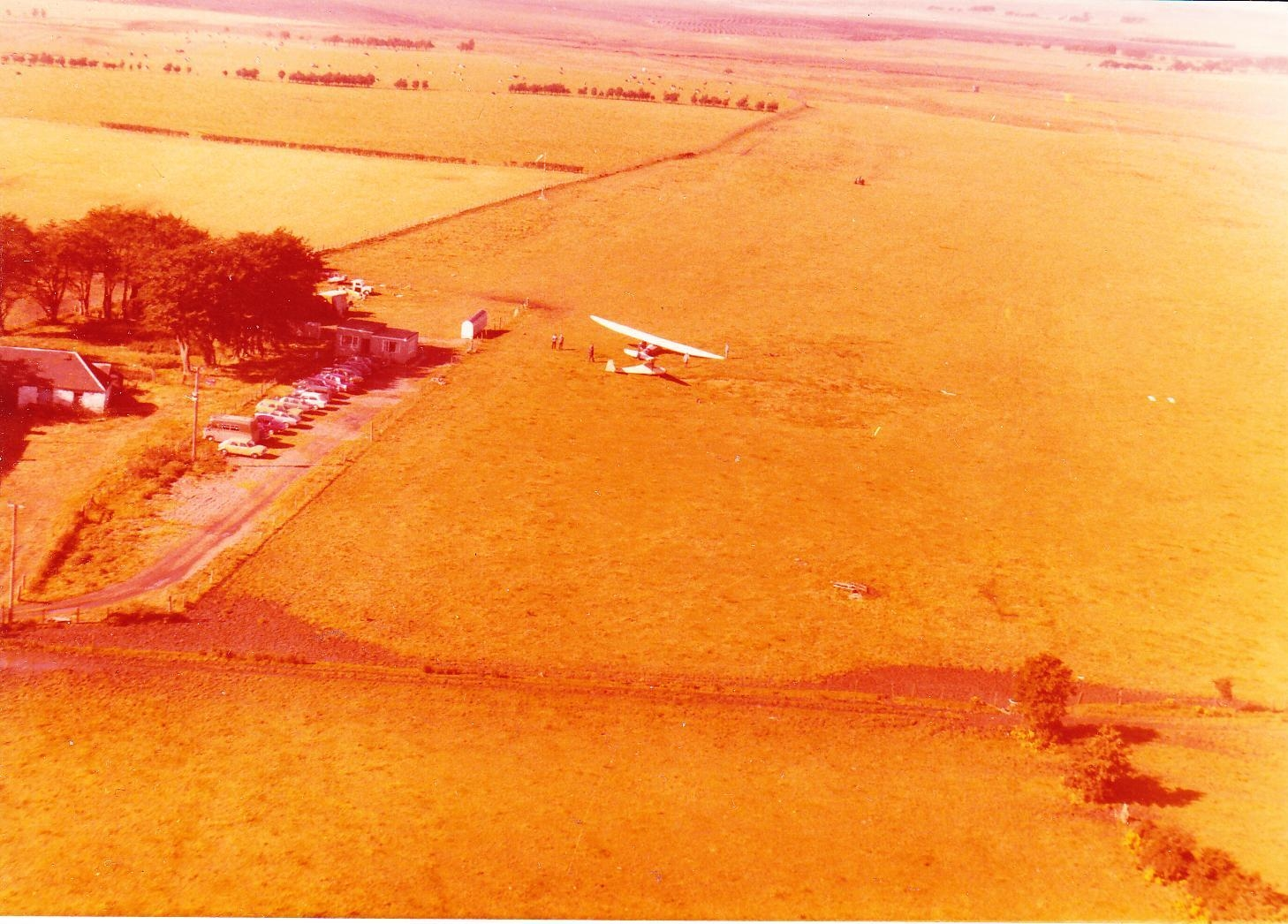 Aerial view,looking south west, of Strathaven Airfield in 1979