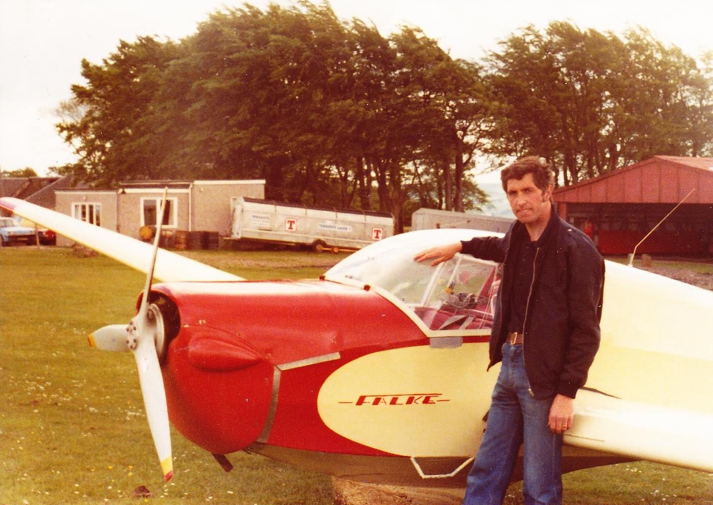 Jeff Henderson after his first solo in the Falke motorglider, 1980